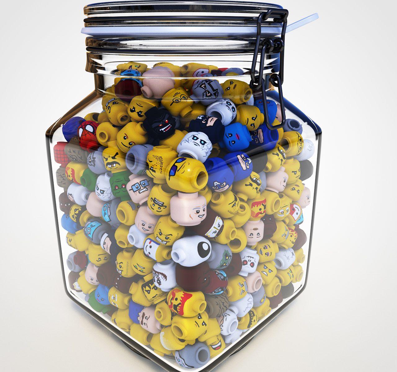 Jar of Lego Heads